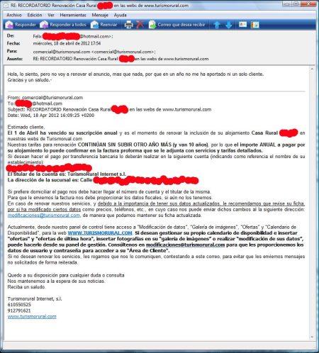 Contestación del cliente a la solicitud de renovación.