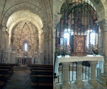 Interior de la Iglesia de San Salvador de Cantamuda y Perazancas, altar y capilla